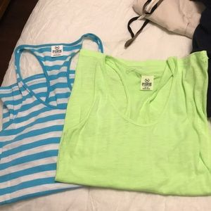 Tops - Blue/white and lime green Victoria secret tank